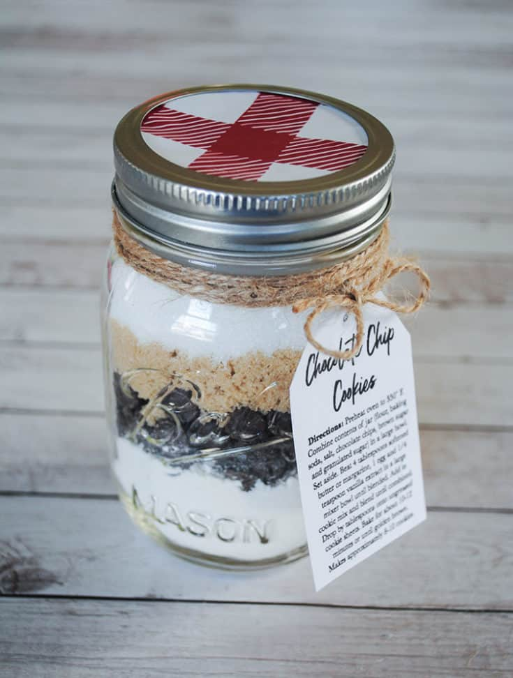 Chocolate Chip Cookie Mix In A Jar With Free Printable Recipe Tag