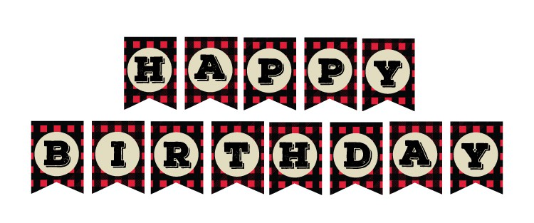 image about Happy Birthday Printable Banner identified as Absolutely free Printable Crimson Plaid Birthday Decorations - Pjs and Paint