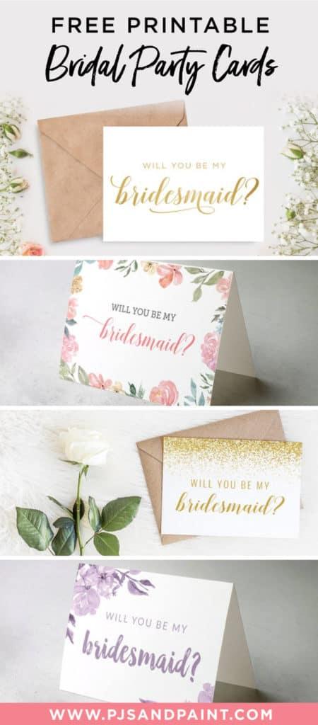 free printable bridesmaid cards