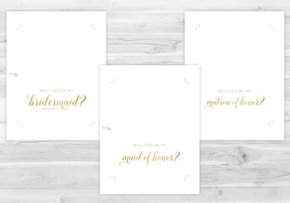 gold bridesmaid cards