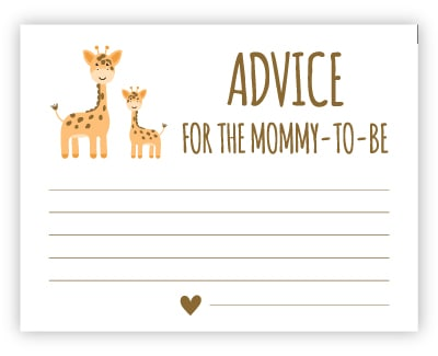 free baby shower advice cards