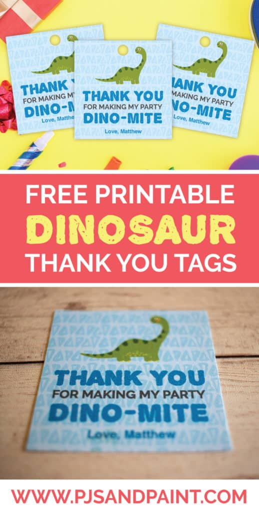 free dinosaur thank you tags