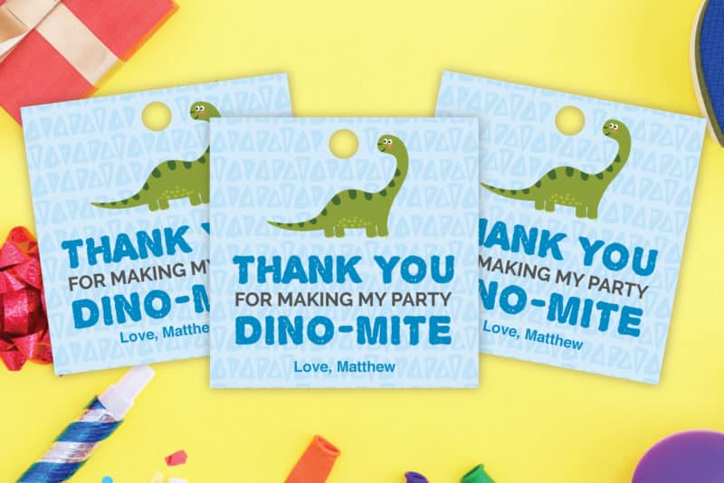 dinosaur thank you tags