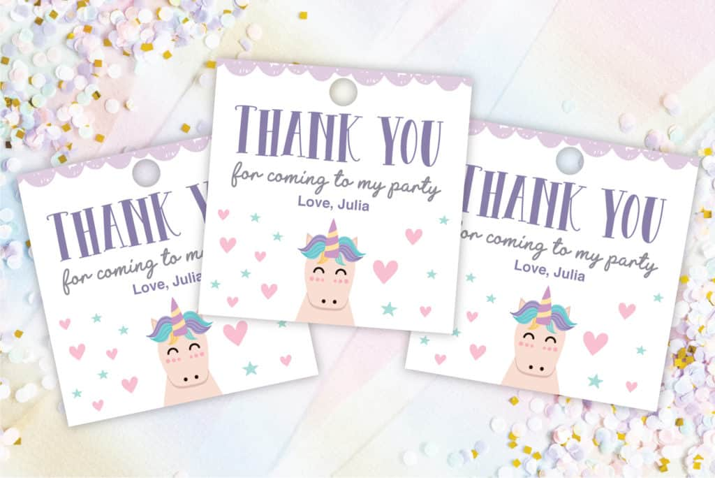 unicorn thank you tags
