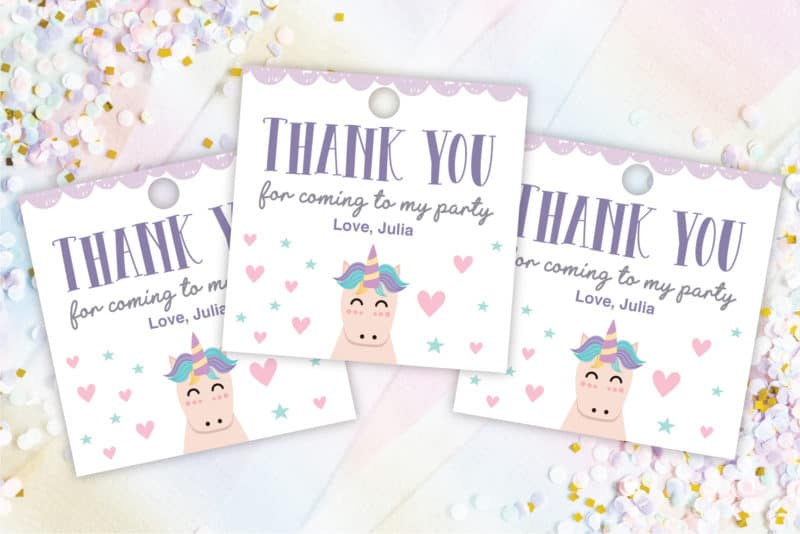 unicorn thank you tags