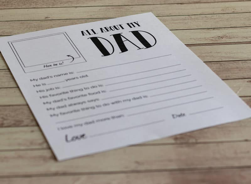 photo about All About My Dad Free Printable identified as All Regarding My Father - Totally free Printable Fathers Working day Reward