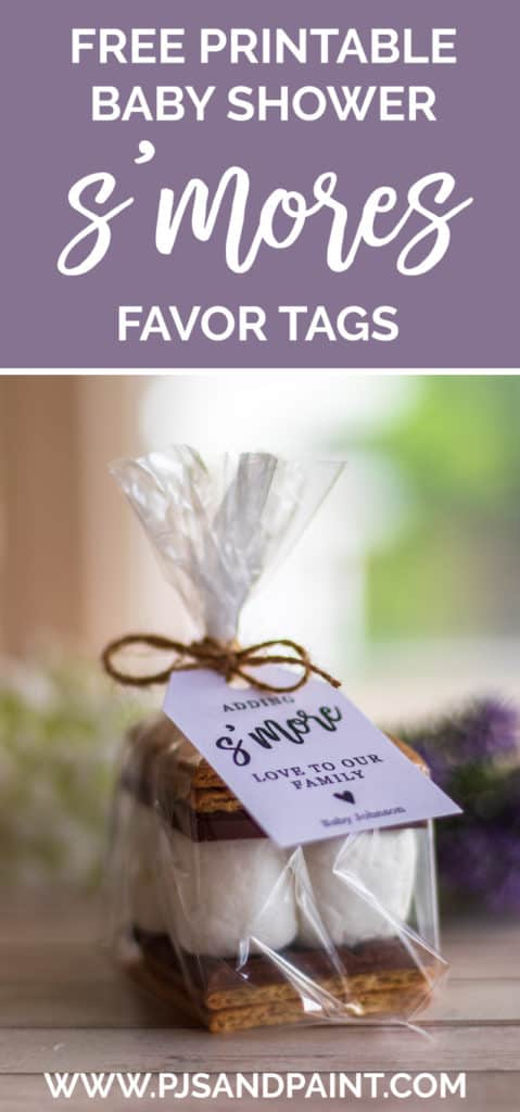 picture regarding Free Printable Baby Shower Favor Tags named Child Shower Smores Favors - With Absolutely free Printable Tag