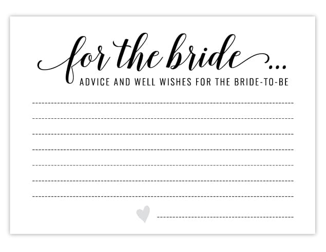 Free Printable Bridal Shower Activities Advice Cards