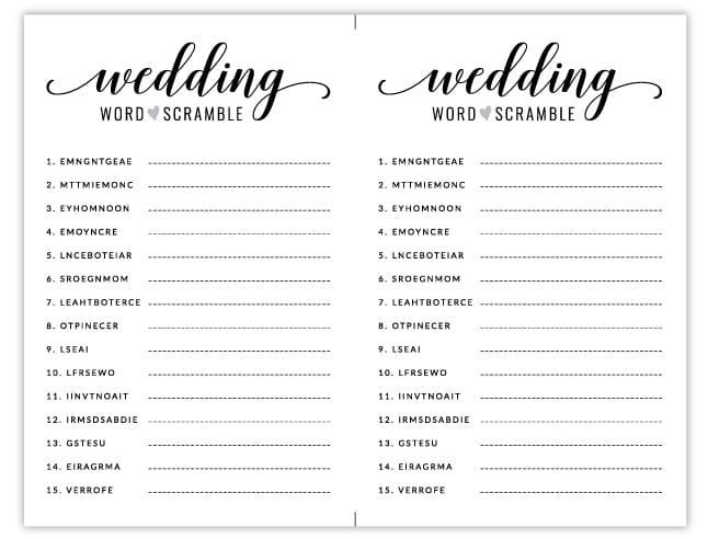 Wedding Game Free.Free Printable Bridal Shower Games Wedding Word Scramble