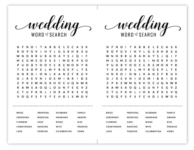 free bridal shower word search