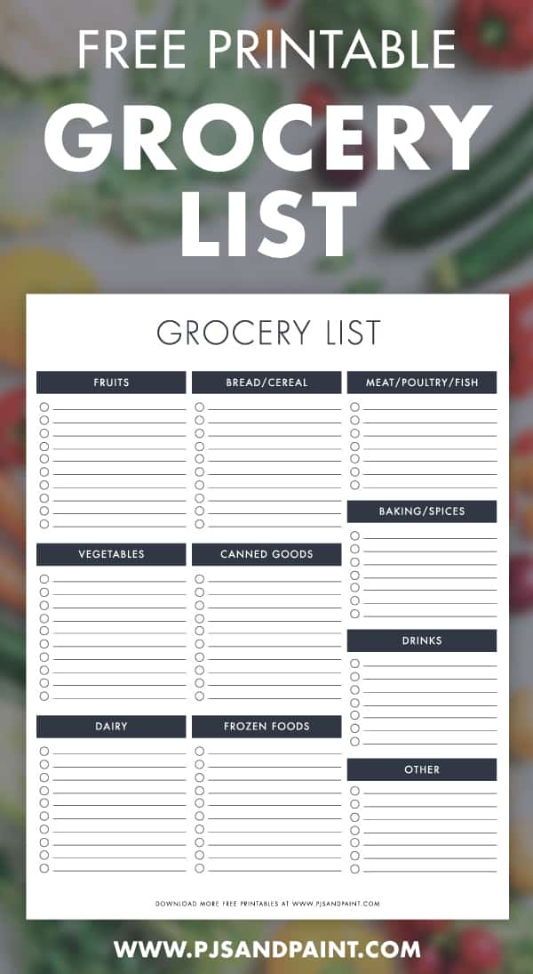 free printable grocery list pinterest