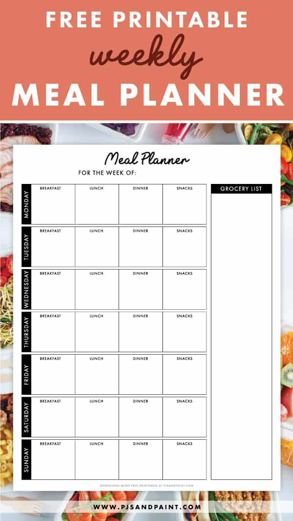 free printable weekly meal planner pinterest