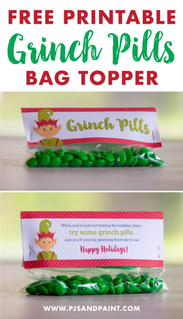 picture relating to Grinch Pills Free Printable named Grinch Tablets Cost-free Printable Vacation Deal with Bag Topper