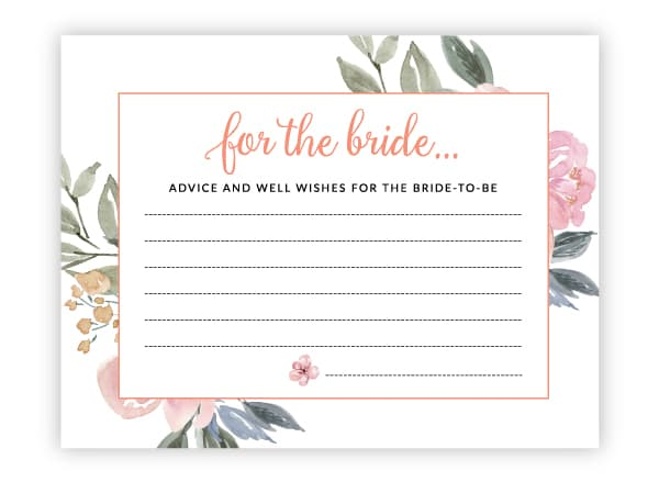 pink floral advice for the bride cards