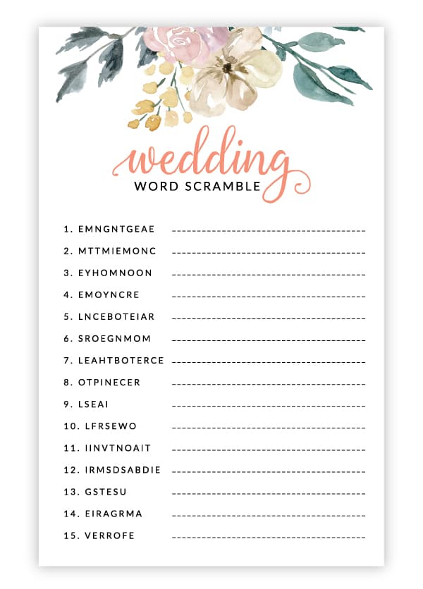 pink floral wedding word scramble