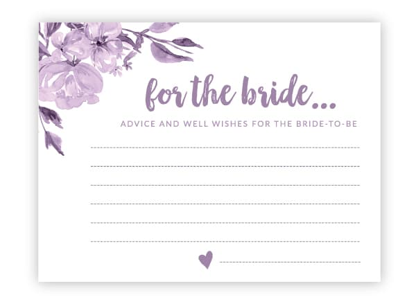 purple floral advice cards