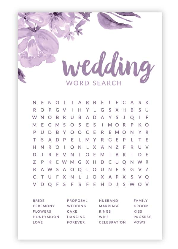 purple floral wedding word search