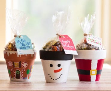 3 christmas painted pots