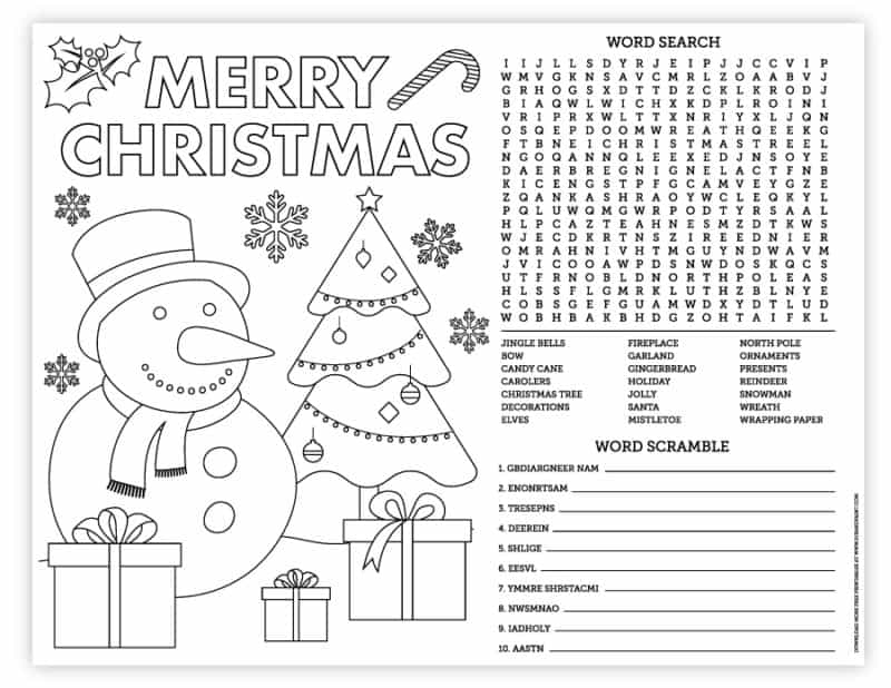 8.5x11 christmas placemat