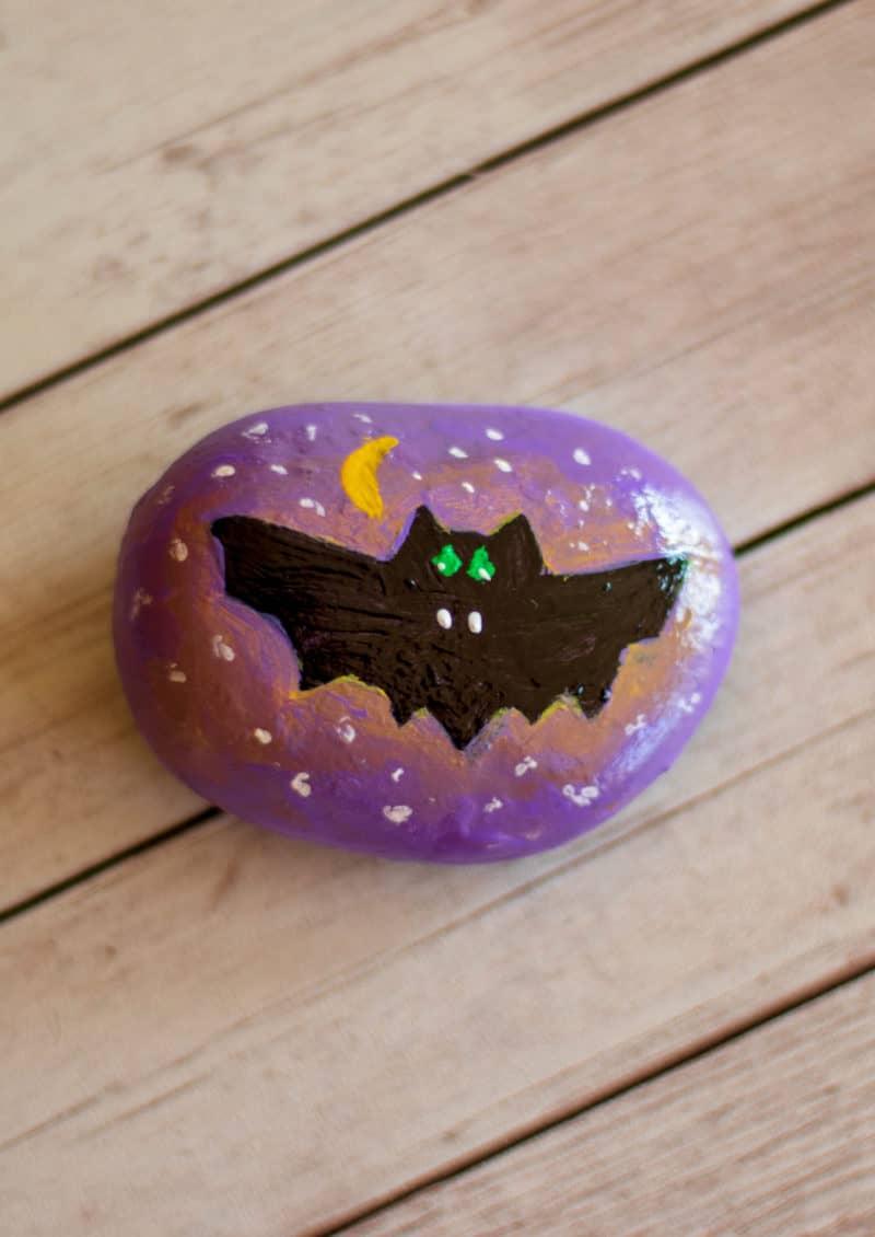 bat painted rock