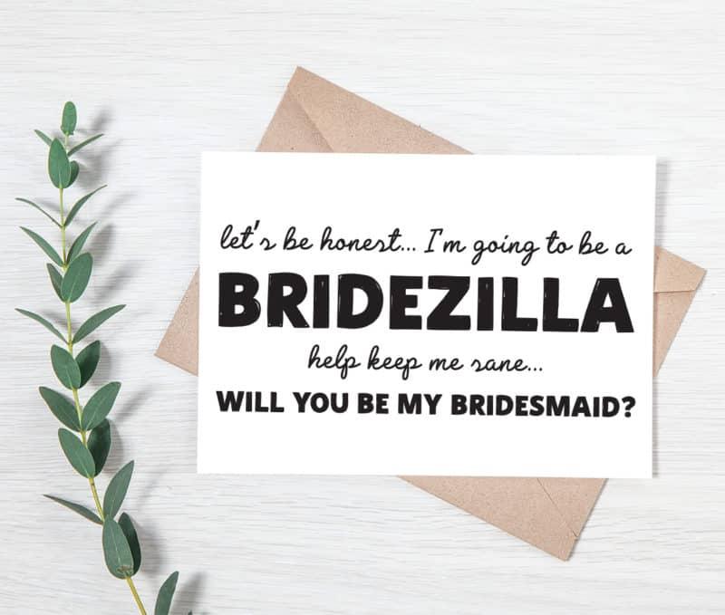 bridezilla proposal card