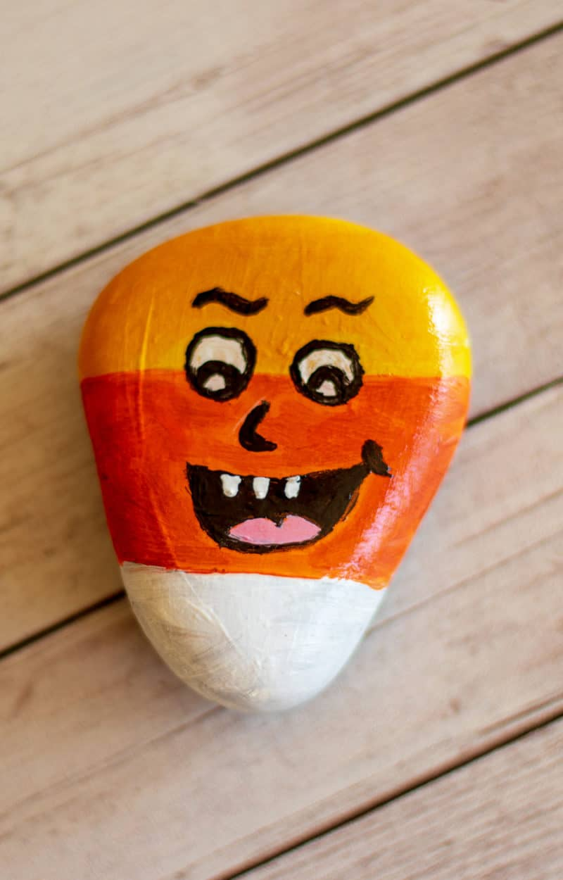 candy corn painted rock