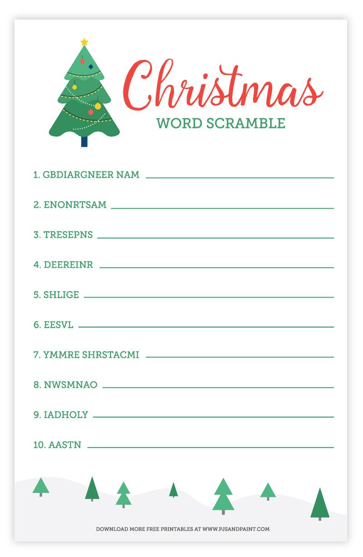christmas word scramble game