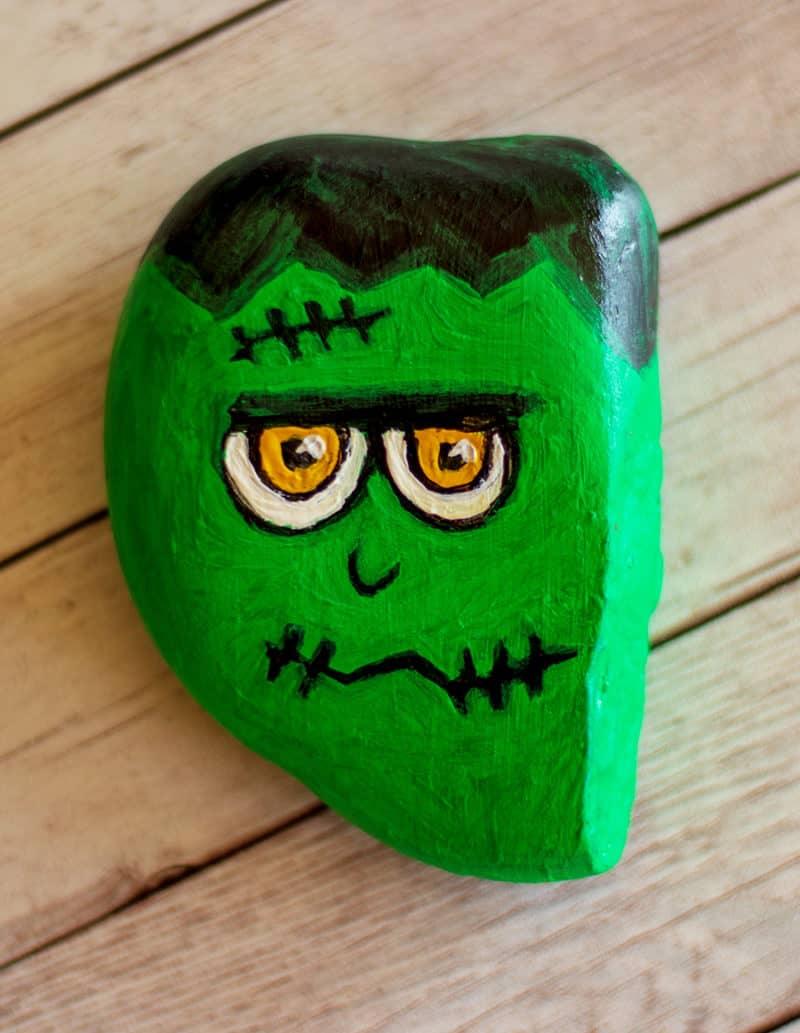 frankenstein painted rock
