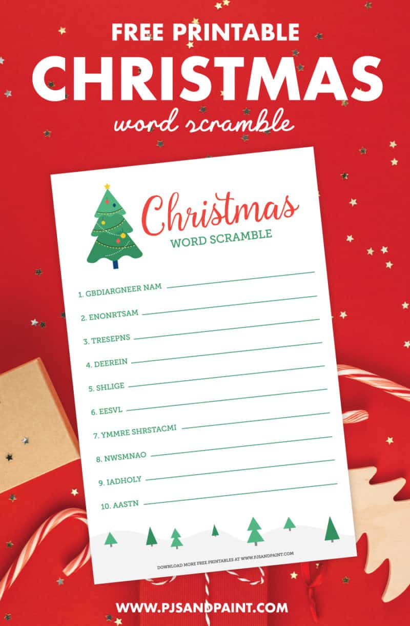 free printable christmas word scramble pinterest