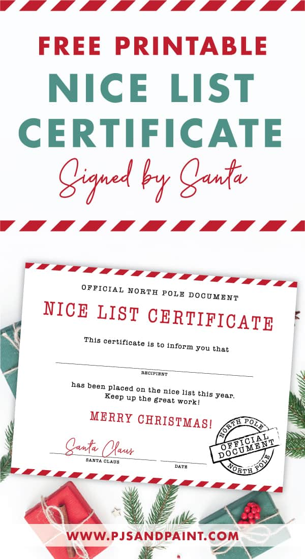 Free Printable Nice List Certificate Signed By Santa
