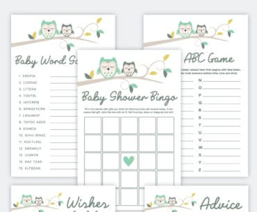free printable owl baby shower activities