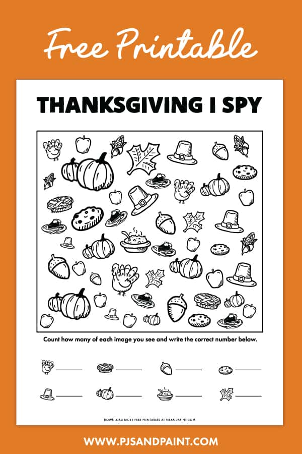 free printable thanksgiving i spy pinterest