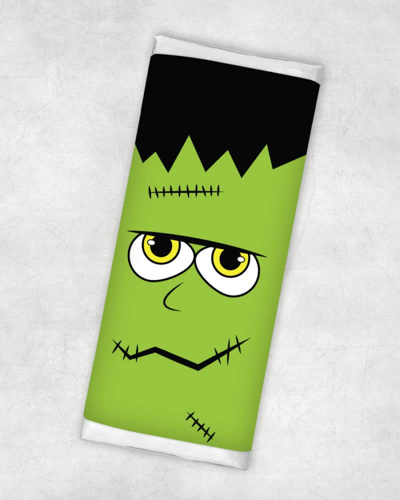 free printable halloween candy bar wrapper frankenstein