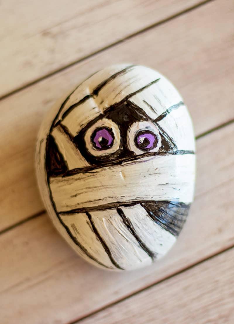 mummy painted rock
