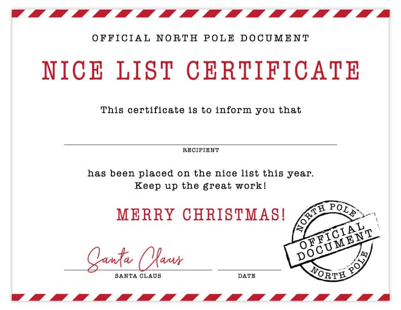 image regarding Printable Santa List titled Cost-free Printable Great Checklist Certification Signed by way of Santa