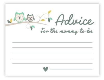 owl advice for mommy cards