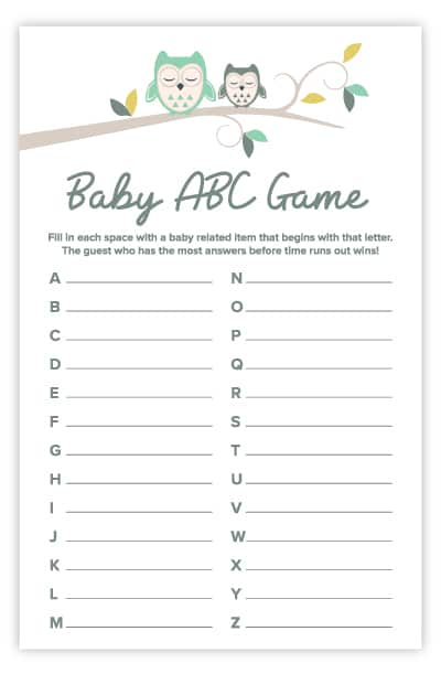 owl baby abc game
