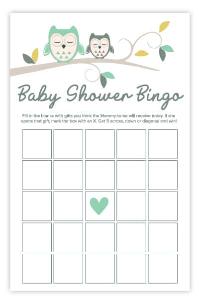 owl baby shower bingo