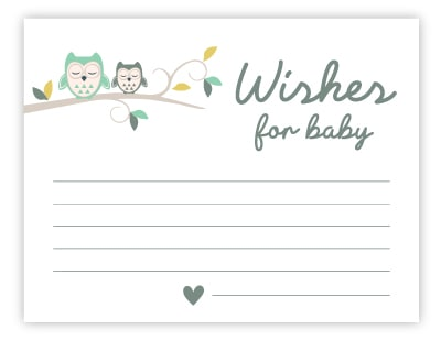 owl wishes for baby cards
