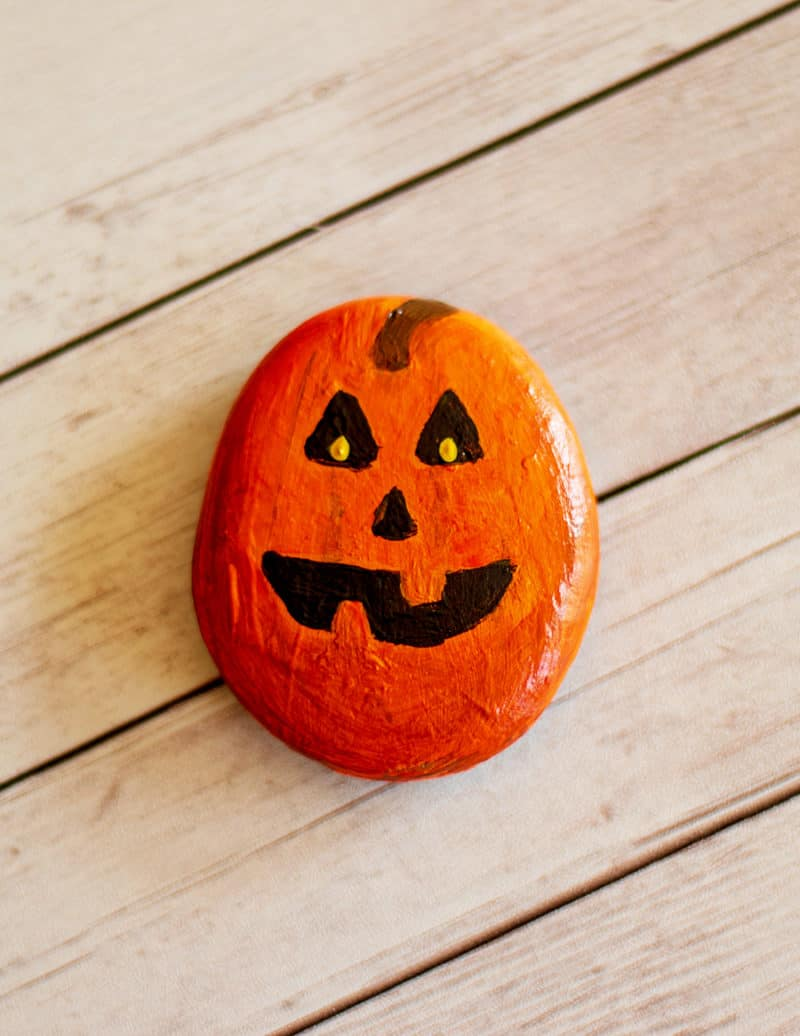 pumpkin painted rock