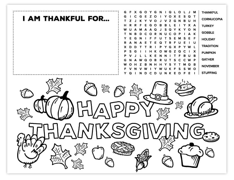 photograph about Printable Thanksgiving Placemat named Thanksgiving Placemat for Children Totally free Printable Recreation and