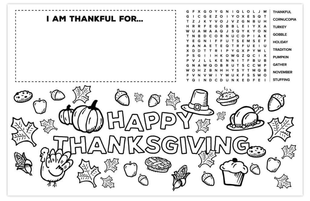 Thanksgiving Placemat For Kids Free Printable Activity And Coloring Page