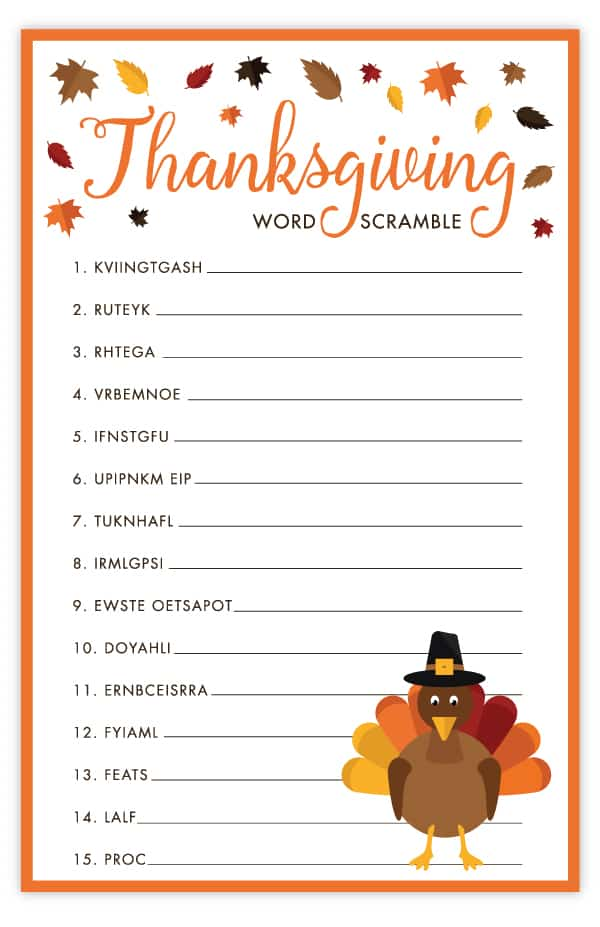 picture relating to Free Printable Thanksgiving Games for Adults referred to as Thanksgiving Term Scramble Absolutely free Printable Thanksgiving