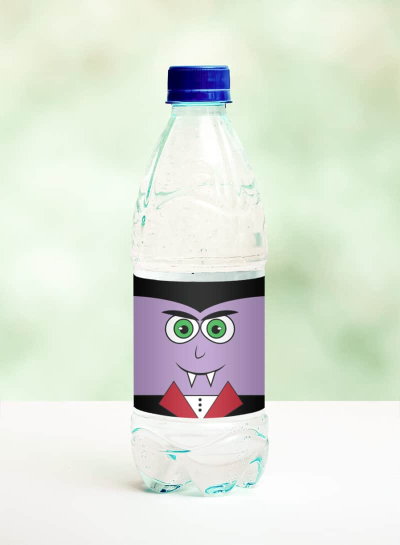 vampire water bottle label