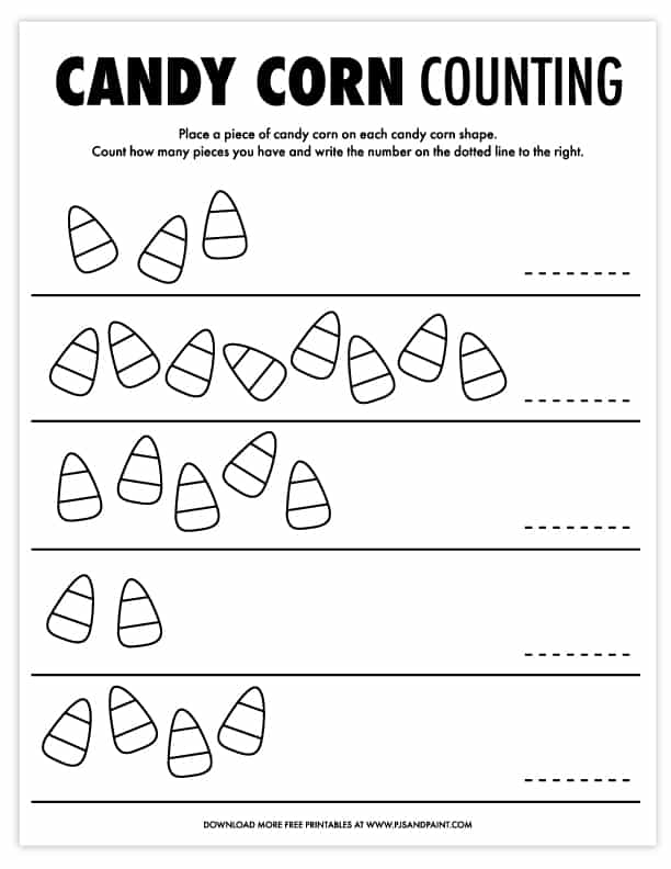 candy corn counting printable