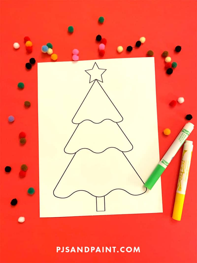christmas tree coloring page blank