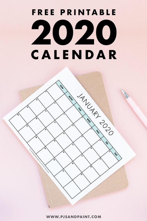 free printable 2020 calendar pinterest