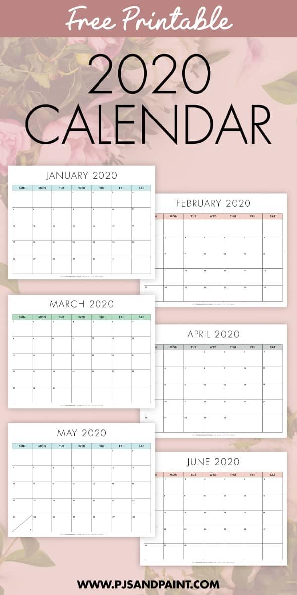 free printable 2020 calendar new pinterest