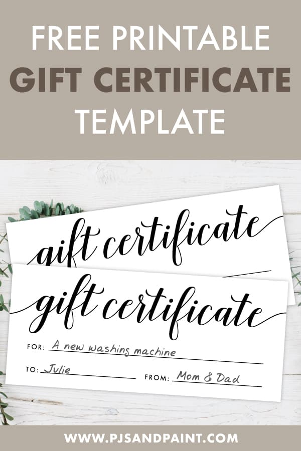 free printable gift certificate pinterest