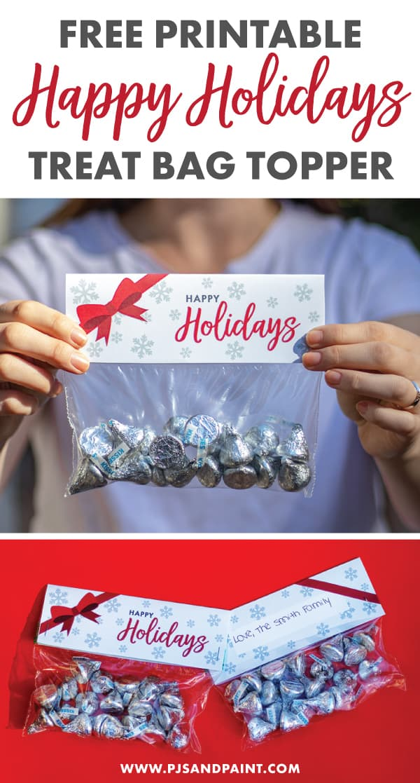 free printable happy holidays treat bag topper pinterest